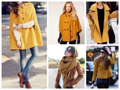 Пальто желтого цвета